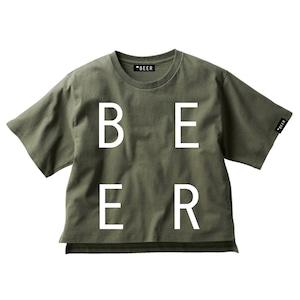 BEER 改行ロゴT アーミーグリーン(レディース)
