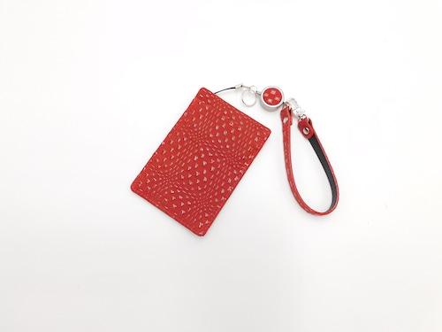 定期入(リードストラップ付き) 赤/赤 変わり市松柄