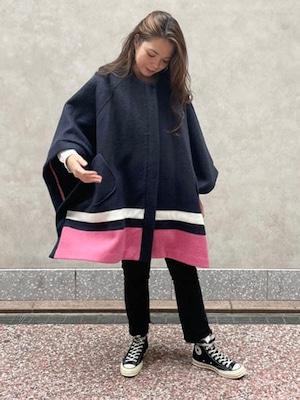 【受注販売】オーバーサイズ裾カラーポンチョ[Color:ネイビー×ピンク]