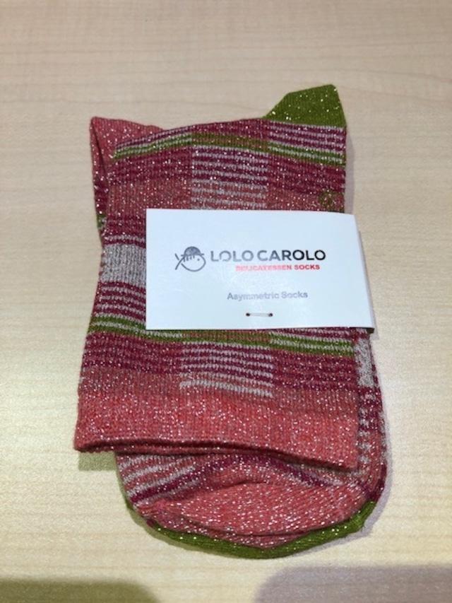 LoloCarolo(ロロカロロ)Spain  LLC025 Col.Kiwi/Pink ラメ入りジャガードソックス フランス製