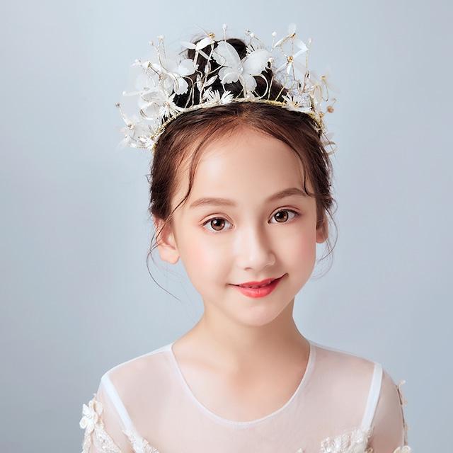 子供アクセサリー 子どもアクセサリー ヘアーアクセサリー 髪飾り キッズ 結婚式 入園式 発表会 卒園式 子供ドレスと合わせやすい 気質よい ビーズ ホワイト 白い 可愛い 蝶 森ガール