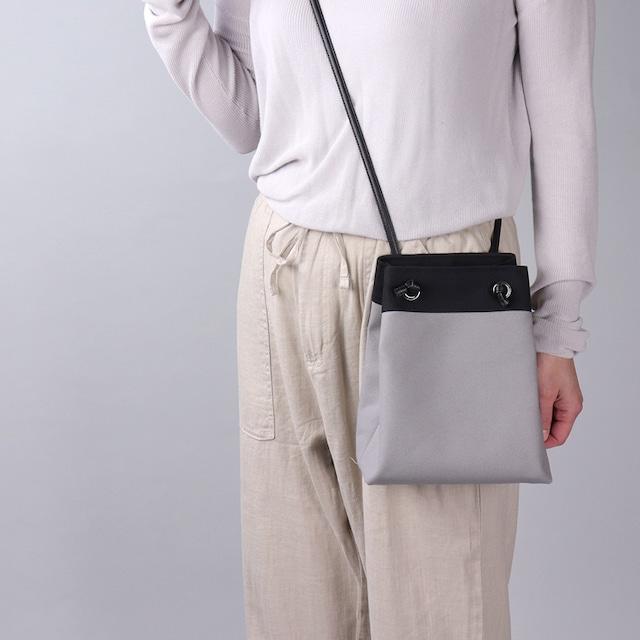 【ピクニックショルダー】グレーベース×ブラック 帆布ショルダーバッグ