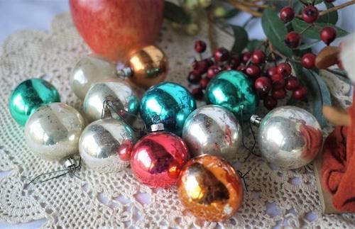 クリスマスオーナメント ガラス玉ボール12個セット ドイツクーゲル ヴィンテージクリスマス飾り