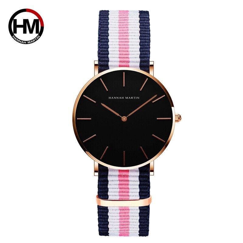 シンプルジャパンクォーツムーブメントウォッチレザーストラップナイロン時計女性アナログ防水腕時計CH36-F2