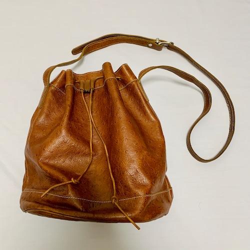 Vintage UNISA Ostrich Drawstring Bucket Bag