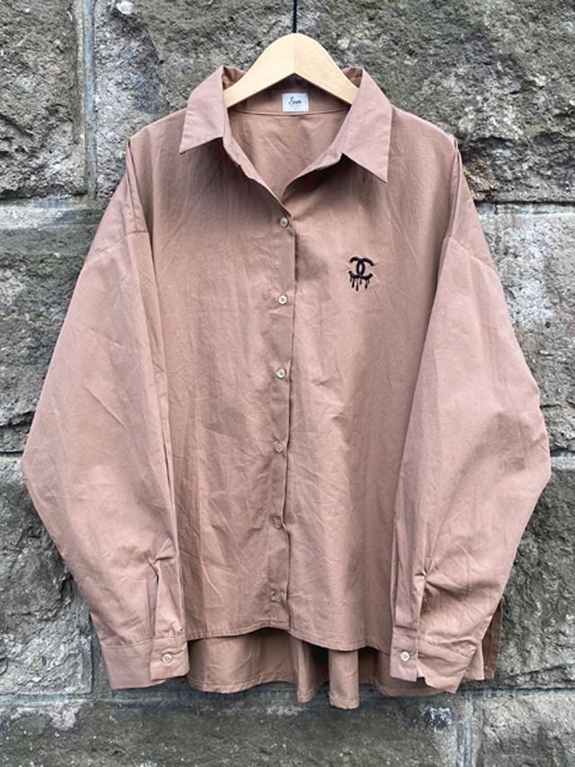 ドロップCロゴオーバーシャツ[Color:ブラウン]