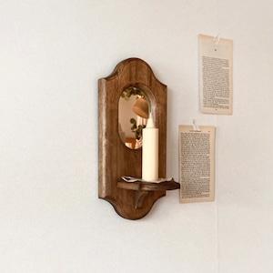 vintage st. wood wall mirror shelf A / ヴィンテージ ウッド ウォール ミラー シェルフ キャンドルホルダー 韓国 雑貨