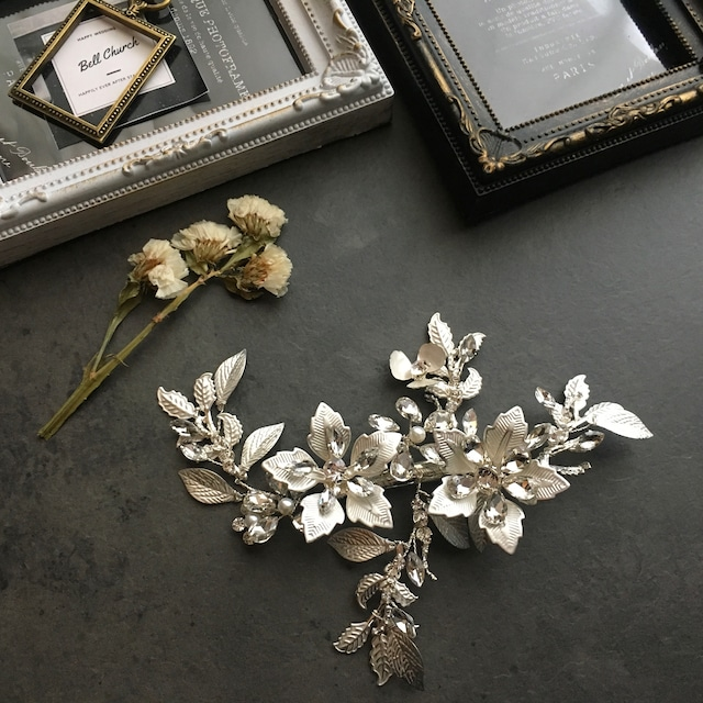 ヘッドドレス お花モチーフ ヘアクリップ シルバー (BC-H23)|ウェディングアクセサリー