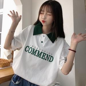 【トップス】韓国系 細見せカジュアルプリントTシャツ27449858