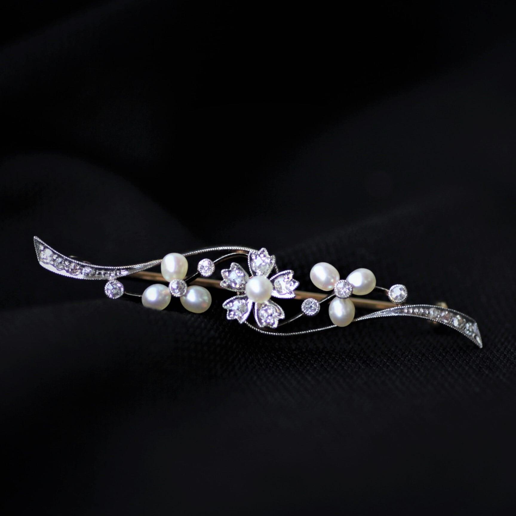 Pearl & Diamond Brooch パール & ダイヤモンド バー・ブローチ