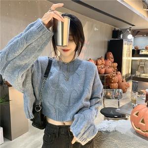 【トップス】可愛いデザイン韓国系長袖ラウンドネックプルオーバーショート丈セーター53634292
