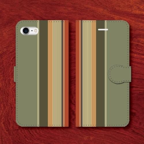 レトロストライプ/昭和レトロ/レトロ家具調/黄緑系色/iPhoneスマホケース(手帳型ケース)