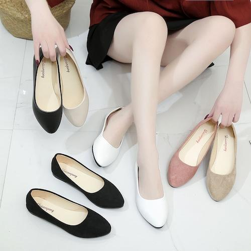 スエードタイプとPUタイプの2種類!パンプス フラットシューズ ぺたんこ 韓国ファッション レディース シンプル フラットパンプス シューズ キュート 痛くない かわいい 歩きやすい 612410228613