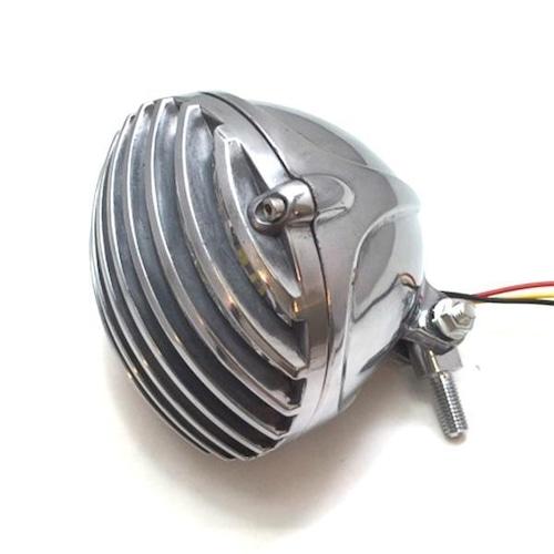 バイク ヘッドライト バードゲージ ヘッド 4.5インチ H4バルブ【シルバー】チョッパー/SR/TW/ハーレー/カスタムヘッドライト/H4