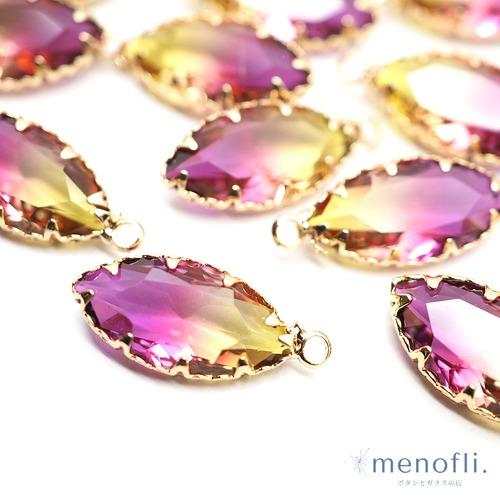 紫・イエロー カン付き ナベット ゴールド枠 チャーム チャイナガラス ラインストーン グラスストーン