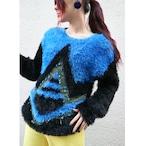 Euro shaggy knit sweater【Blue × black】