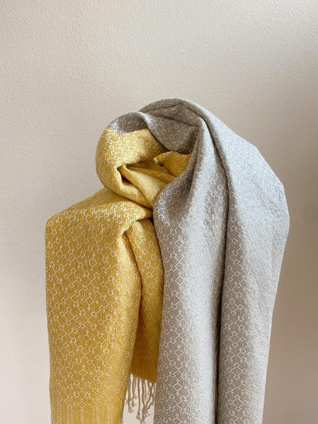 Hand-woven scarf / Rocca Yellow  手織りシルクのショール 六花イエロー