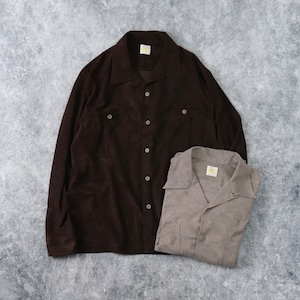 【BARNS OUTFITTERS】FAKE SUEDE OPEN CLOOR SHIRT (2色) バーンズアウトフィッターズ 長袖シャツ  日本製 MADE IN JAPAN