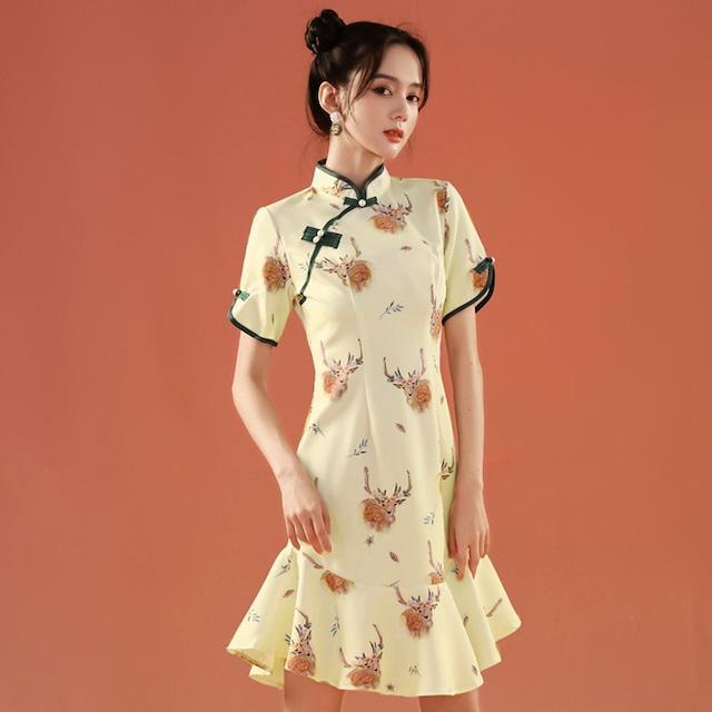 【YUEQIAOシリーズ】★チャイナドレス★ ワンピース マーメイドライン 鹿 可愛い 結婚式 パーティー 夏