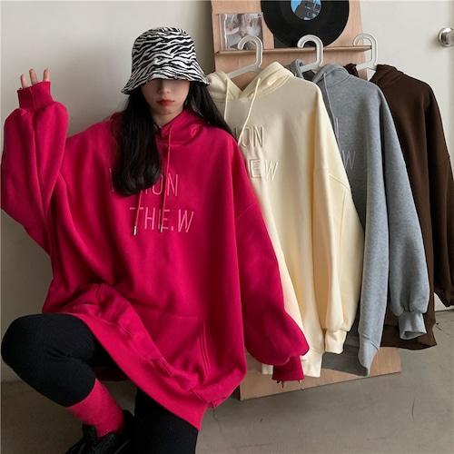 プルオーバー パーカー プラスベルベット ルーズ 韓国ファッション レディース ゆったり カジュアル ストリート系 ガーリー (DTC-628559489695)