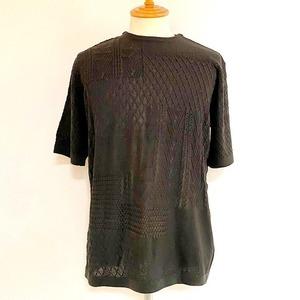 Crazy Pattern Short Sleeve Knit Khaki