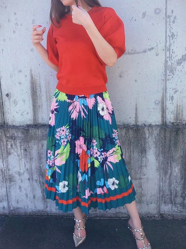 【WHITE:即納】花柄 プリーツスカート 2color
