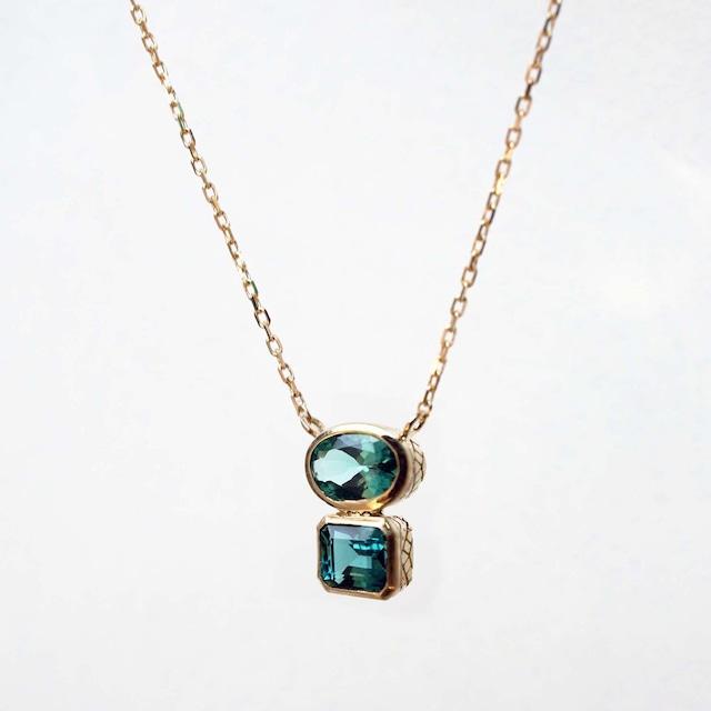 Indigolite Tourmaline Double Necklace(N213-GT)