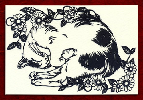 切り絵ポストカードno014 ねむり福猫(E-4-01914)