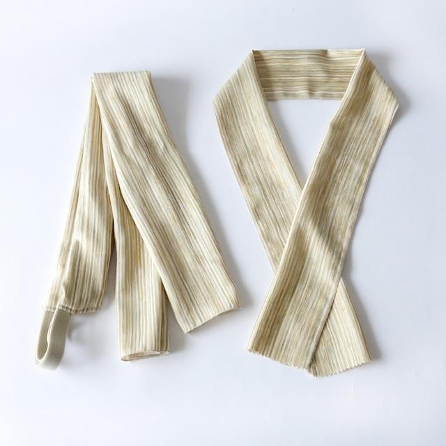 半幅帯用三重仮紐と半衿セット/サンドベージュストライプ/シルク