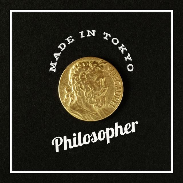 【1個】チャーム コイン【哲学者】 (日本製、真鍮、無垢)