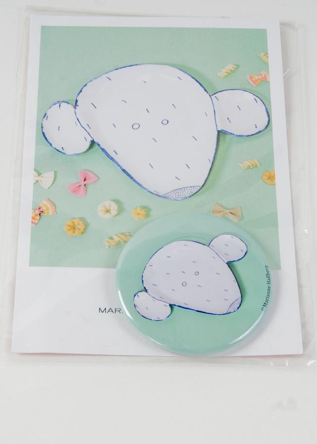 【アウトレット】Marianne Hallberg(マリアンヌハルバーグ) 缶バッジL / クマの皿 MH036