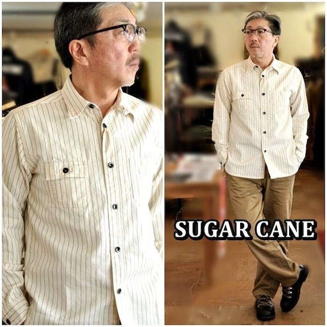 SUGARCANE シュガーケーン ウォバッシュワークシャツ 27076メンズ ウォバッシュストライプ柄シャツ