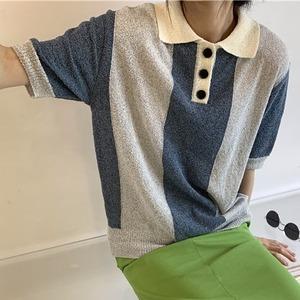 Two-tone color polo knit(ツートンカラーポロニット)b-367