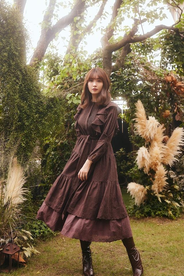 Two-Tone Ruffled Lace Dress