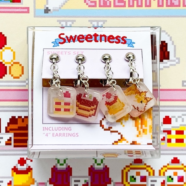 プラバン ケーキ ドット絵 Sweetness イヤリング 4点セット