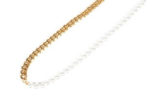【316L pearl & chain necklace】 / GOLD