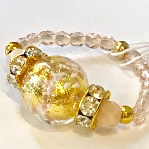 Item454 宇宙みたいなヴェネチアンガラスのリング ベビーピンク&ゴールド