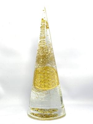 円錐型オルゴナイト 【フラワーオブライフ&ドラゴン】