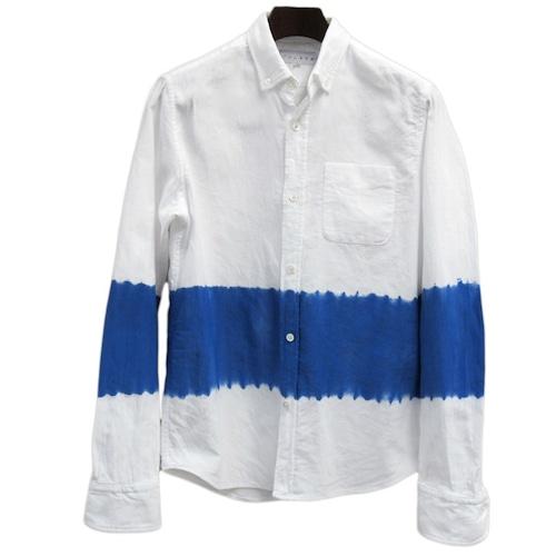 知多木綿 別注 日本製オックスフォード生地 ボタンダウンシャツ 逆帽子絞り ブルーライン