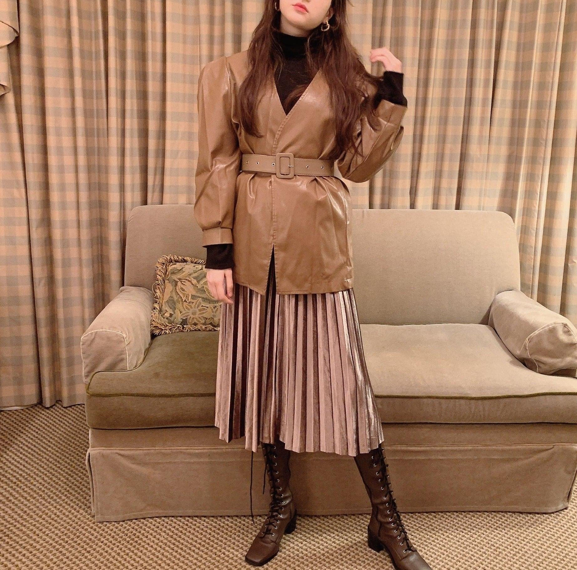 【LAST2】glossy skirt(black)