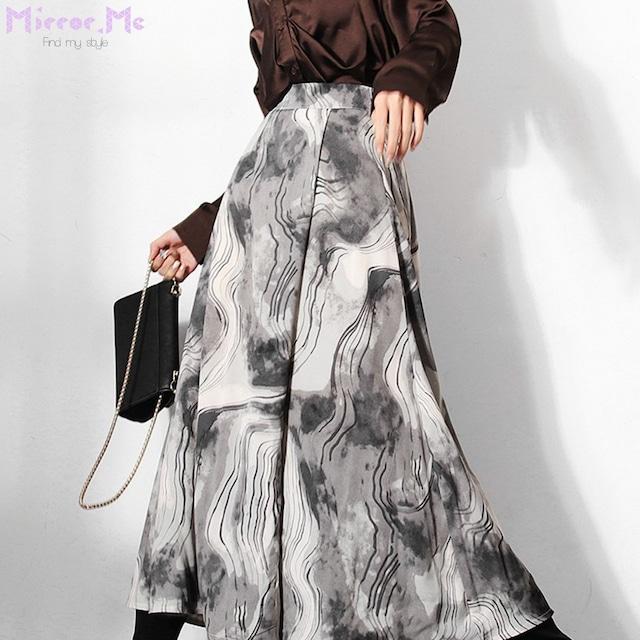 シックグレー絞り染めマーブルデザインフレアスカート