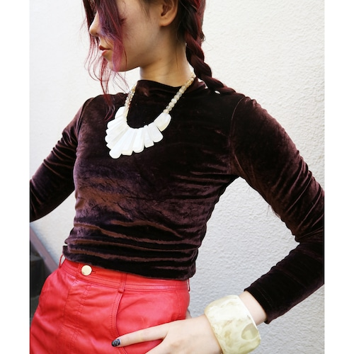 Brown velour tops【Made in USA】