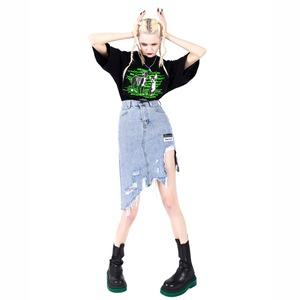 【PINKSPINK】アシンメトリーダメージタイトスカート
