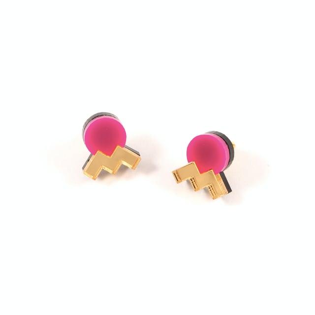 "MYSTIC FORMS""Geometric Perspex Statement Mini Earrings""  FORM013 ピアス"
