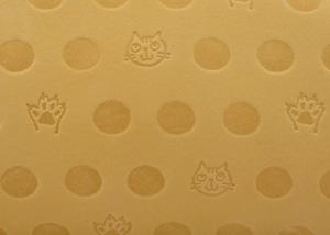 Atelier Kyoto Nishijin/ねこと肉球の型押しが可愛い・牛革・抗菌・抗ウイルス加工・がま口長財布・萱草色(かんぞういろ)・日本製