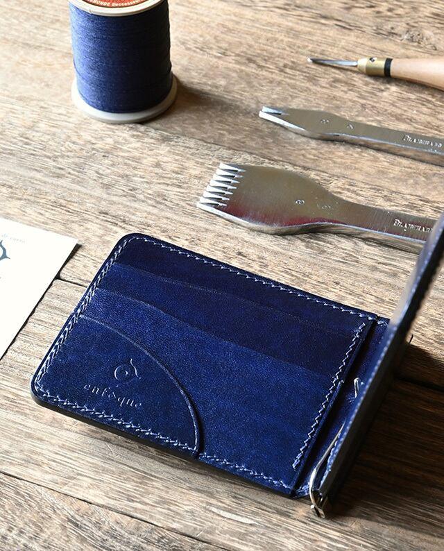 手縫い仕立てのマネークリップ財布 【ルガトショルダー / ネイビー】