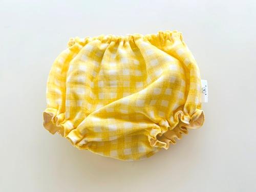 ダブルガーゼのベビーブルマ・黄色のギンガムチェック柄