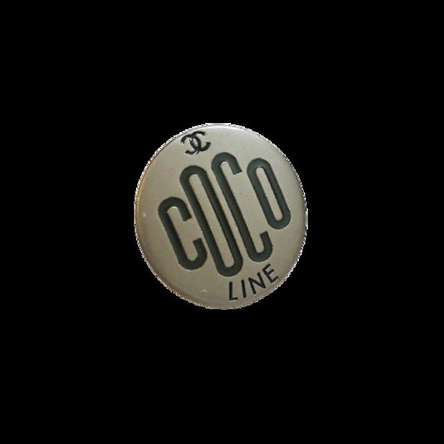 【VINTAGE CHANEL BUTTON】 ブラックシルバー  COCOロゴ ボタン 16㎝ C-21031