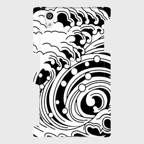 家紋模様、渦巻浪(黒 / Androidスマホケース(ハードケース)