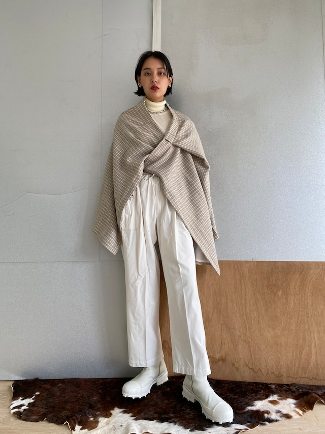 """Wrapped Skirt """"Ice gray hound's-tooth check"""" khadi wool"""
